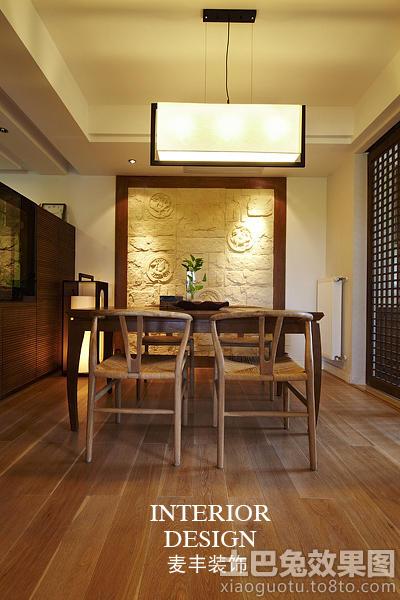 简约中式餐厅背景墙装修效果图大全