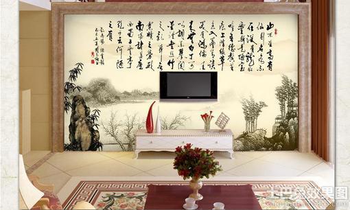 客厅影视墙壁画设计 图片