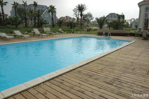 欧式别墅游泳池效果图