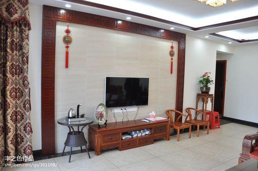 中式风格客厅瓷砖电视背景墙效果图欣赏