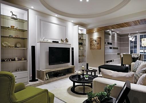 简欧式风格三室一厅客厅电视背景墙装修效果图