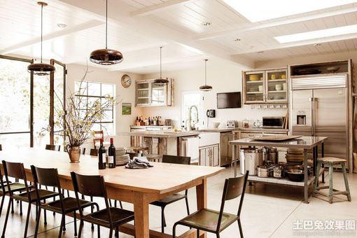 美式乡村别墅大餐厅厨房装修