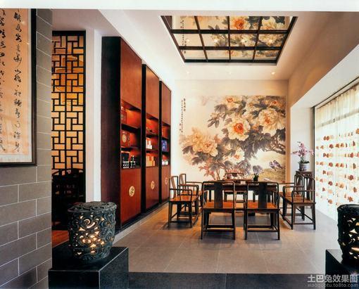 中式古典 装修 茶室效果图 hao123网址导