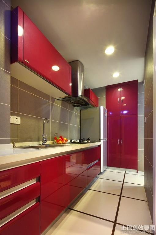 一字型厨房橱柜颜色效果图