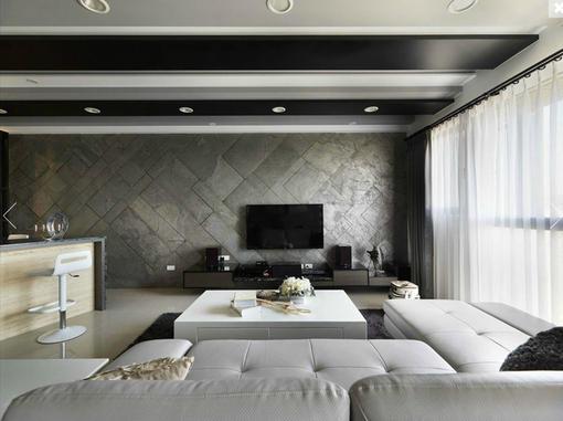 现代风格黑白灰经典客厅电视背景墙效果图