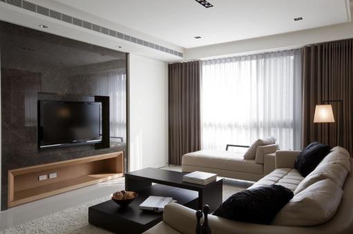 现代简约风格客厅瓷砖电视背景墙装修效果图