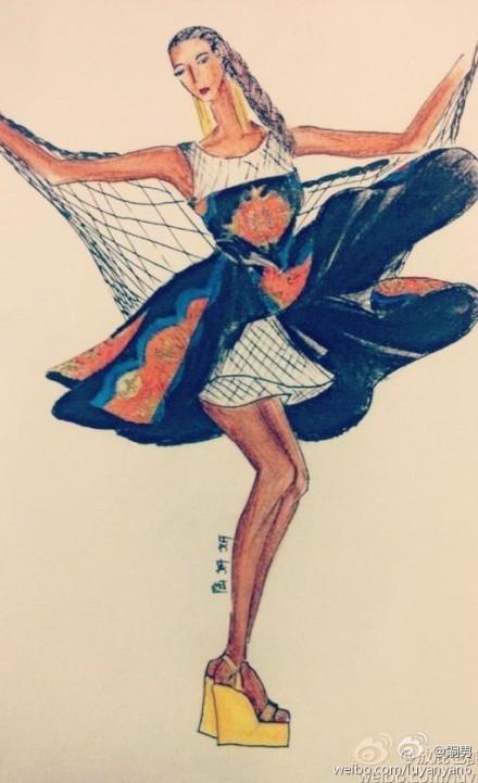 服装效果图 手绘图 时尚