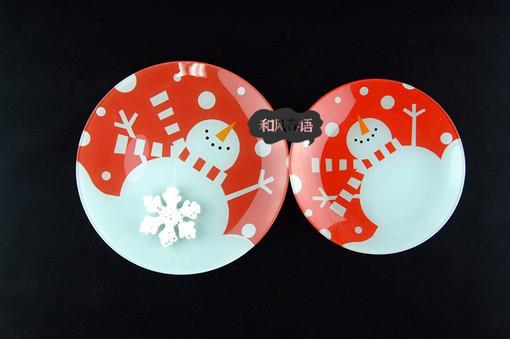 酒店厨房用品 碟子钢化玻璃盘子 小吃盘干水果盘 圣诞礼物 装饰盘