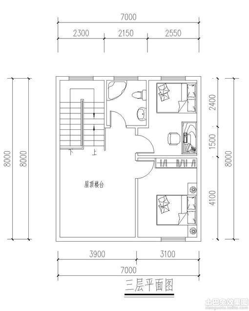 别墅房屋设计图四间展示