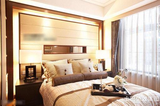 新中式卧室床背景墙设计