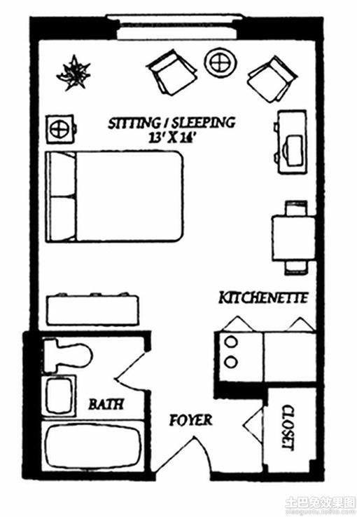 15平单身公寓户型图