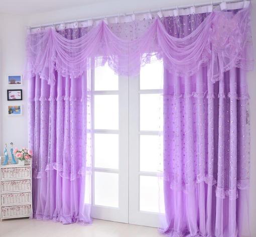 紫色客厅窗帘装修效果图