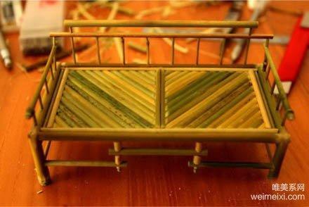 手工迷你家具制作 竹子小椅子手工diy