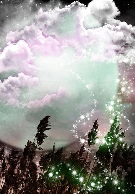 旅行风景 梦幻唯美 插画手绘 自然意境 意境 月如梳,理一头三千丈愁丝