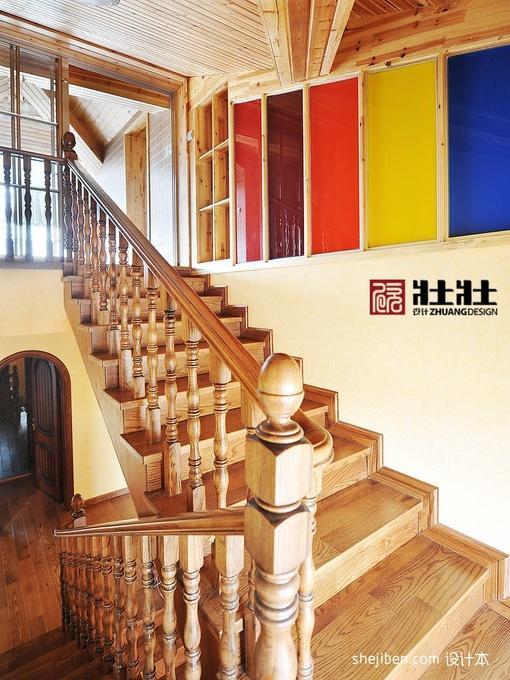 别墅室内实木楼梯装修效果图