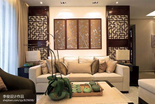中式风格客厅布艺沙发背景墙效果图