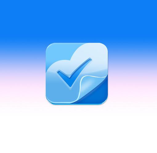 仿蓝色高光质感图标一枚-勾勾 #icon# #采集大赛