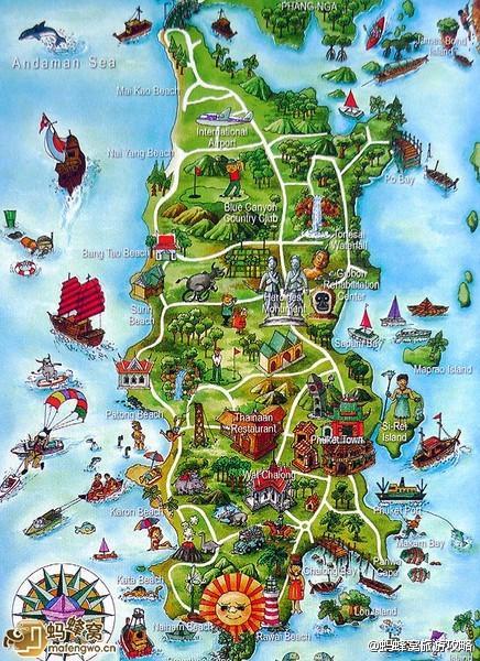终于找到了普吉岛的手绘地图