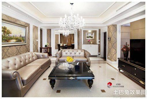 欧式风格三居客厅水晶灯吊顶装修效果图