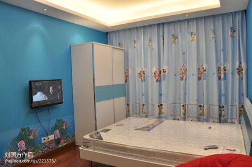 现代简约风格儿童房卧室窗帘装修效果图欣赏