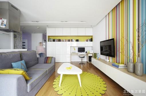 现代风格客厅电视机条纹壁纸背景墙效果图