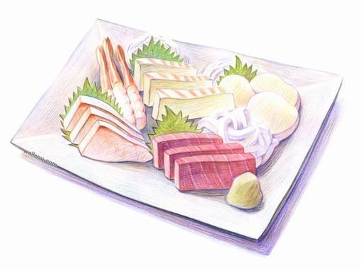 手绘彩铅各种食物