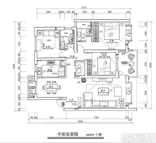 120平米三室兩廳平面圖