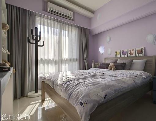 简约卧室落地窗窗帘装修效果图片