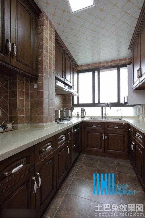 美式风格厨房装修u型橱柜效果图