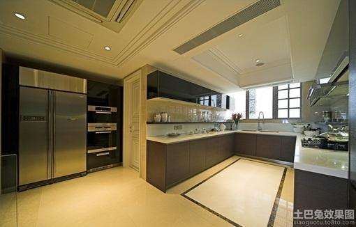 现代简约大型开放式厨房装修效果图