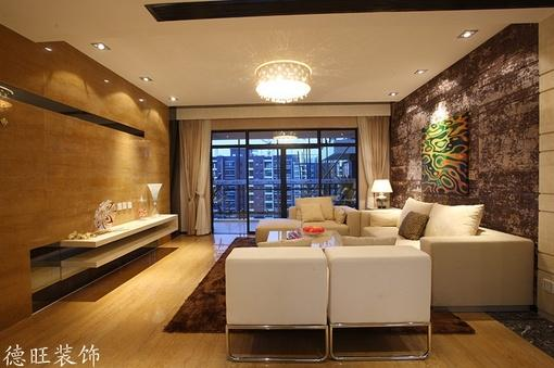 现代简约装修风格客厅水晶灯吊顶效果图