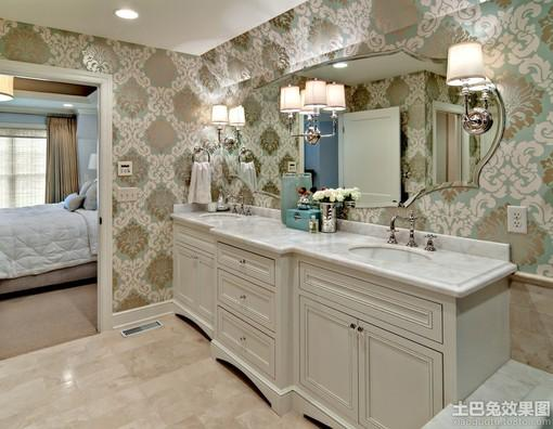 卫生间欧式花纹壁纸贴图