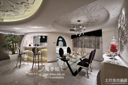 创意家居餐厅吊顶效果图-鬼手帕设计