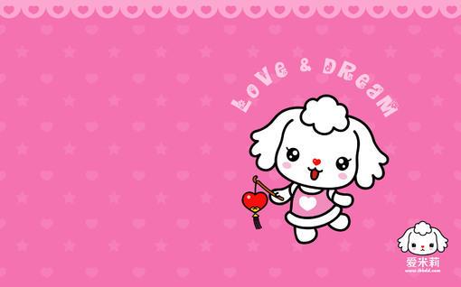 可爱卡通爱米莉招财童子电脑壁纸之粉红色