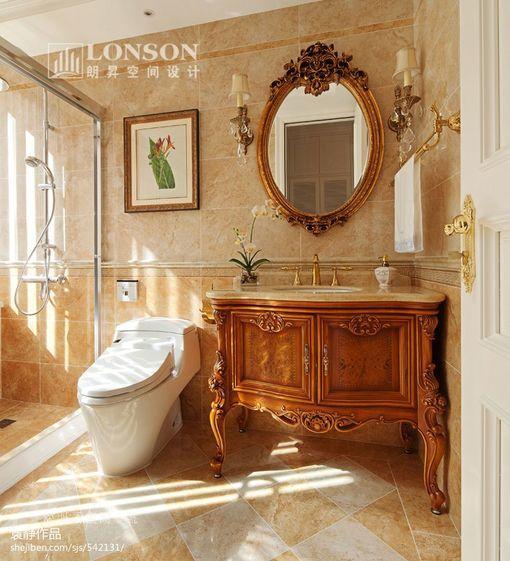 美式卫生间洗手台装修效果图