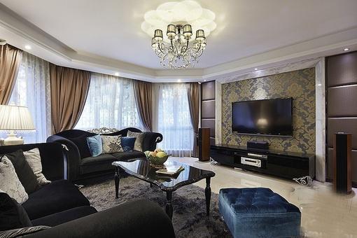 现代欧式小户型客厅电视背景墙效果图
