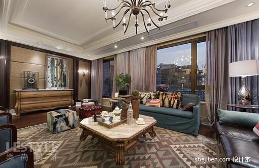 欧式客厅沙发窗帘一体效果图