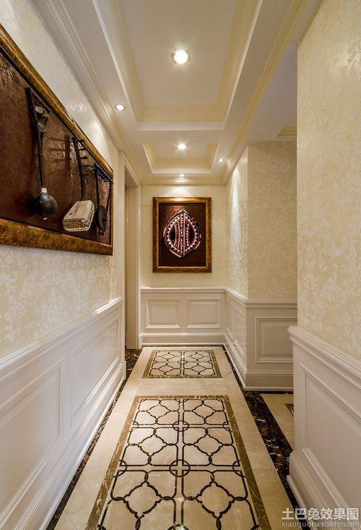 欧式风格过道瓷砖地板拼花贴图