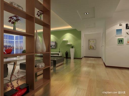 复式客厅博古架效果图  复式客厅过道装修效果图