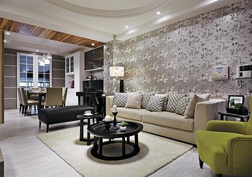 简欧式风格客厅沙发壁纸背景墙效果图