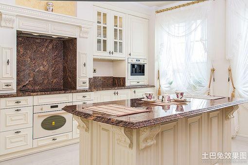欧式风格开放式厨房橱柜设计图片