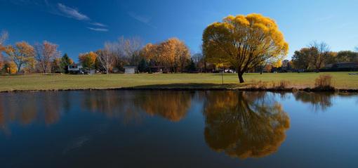 采集大赛#树,河流,倒影,房子,天空,秋天,桌面壁纸
