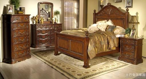 欧式茶青色实木家具图片