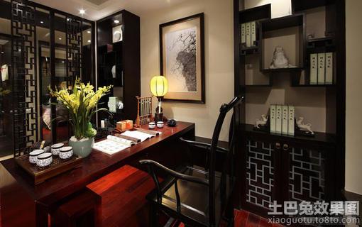中式书房博古架效果图欣赏