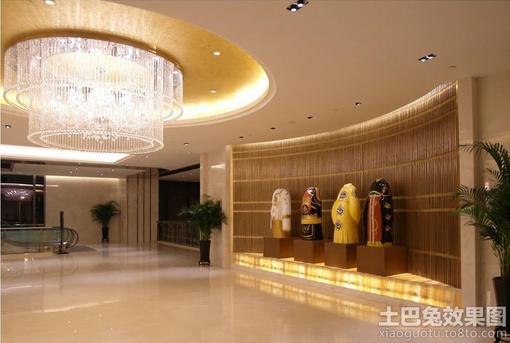 前台大厅会客室吊顶壁画设计效果图   工装-大厅11装修设计