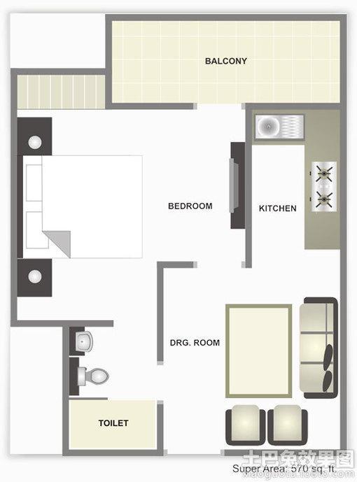 40平单身公寓平面图