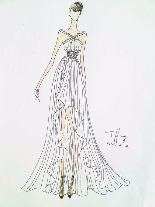 婚纱手绘 #纯白色# #优雅# #礼服