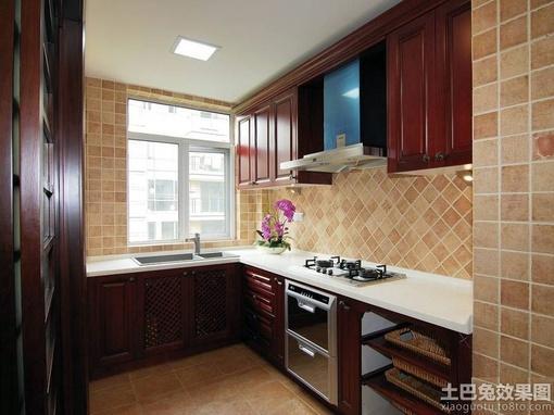 中式风格厨房实木橱柜效果图