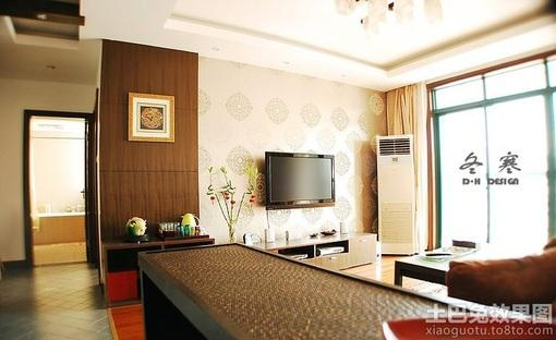 港式风格客厅电视背景墙壁纸效果图