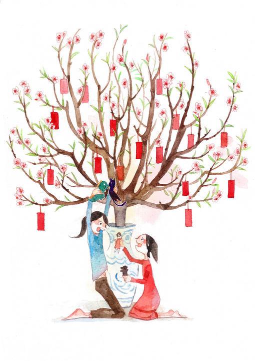 m.y  的插画 童年的桃树~祝大家新年快乐